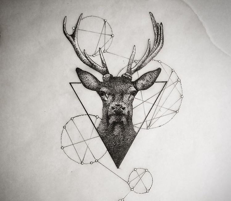 Image De Art Deer And Drawing: Dotwork Deer Portrait With Geometric Drawings Tattoo