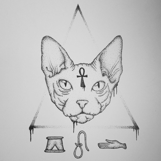 Dotwork detailed sphynx cat with ankh cross on triangle background tattoo design
