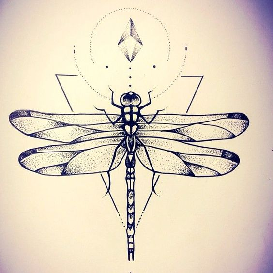 Dotwork dragonfly on geometric drawings background tattoo design