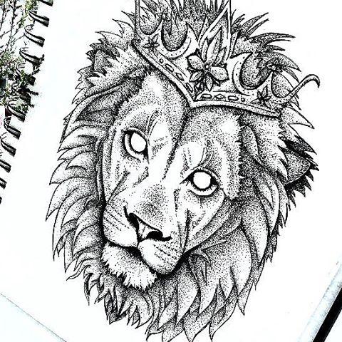 Dotwork empty-eyed lion in crown tattoo design