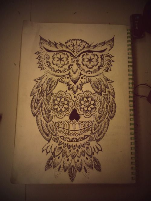 Dotwork Floral Eyed Owl With Sugar Skull Tattoo Design