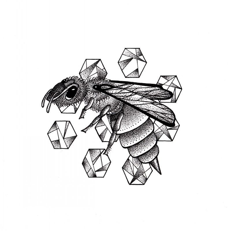Dotwork flying bee and geometric polygons tattoo design