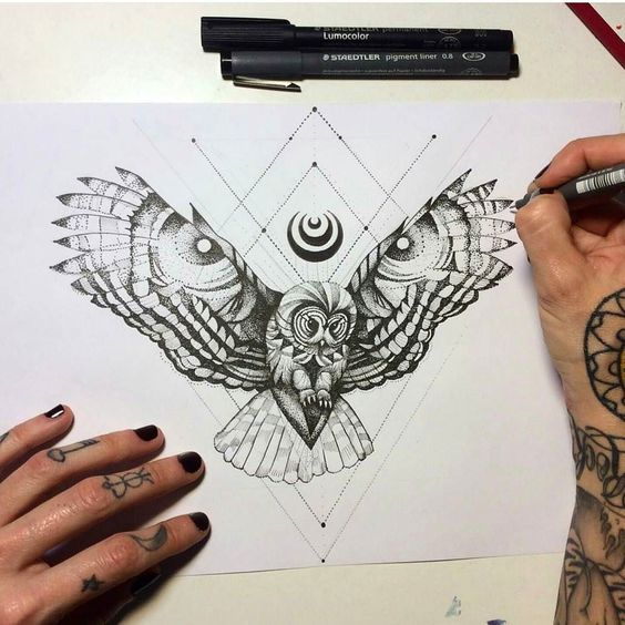 dotwork flying owl and geometric drawings tattoo design tattooimagesbiz