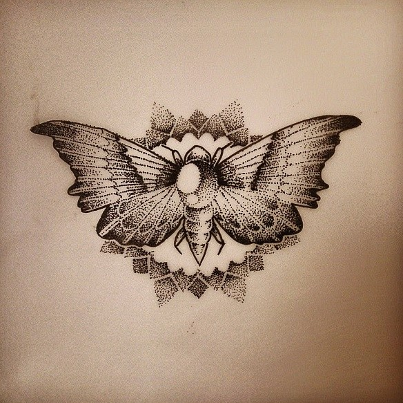 Dotwork gem-decorated moth on shining sun background tattoo design