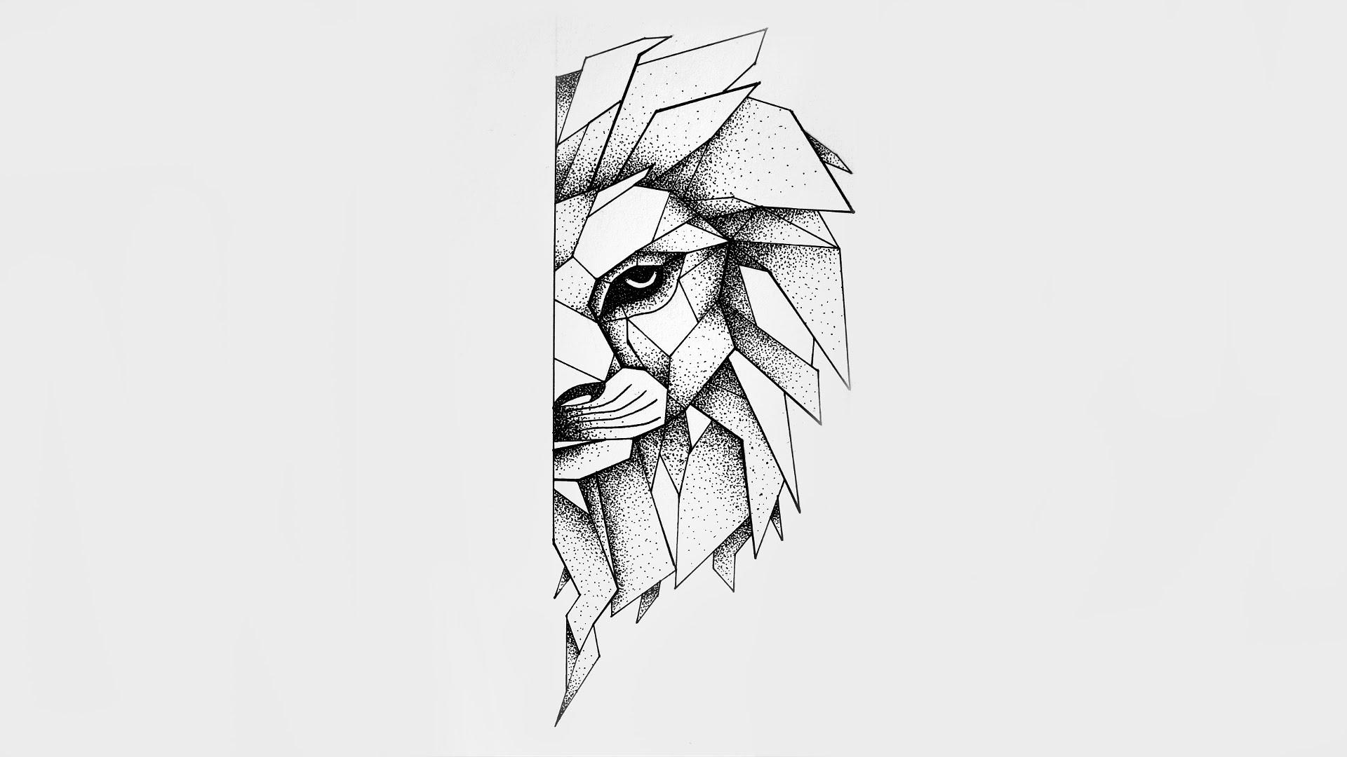 Dotwork geometric half-muzzle lion tattoo design