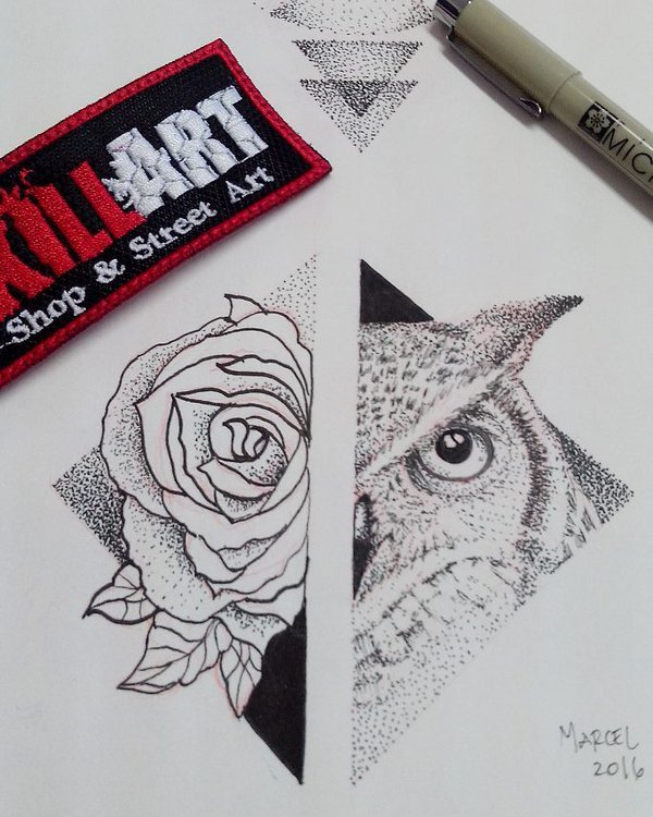 Dotwork geometric half owl half-rose rhombus tattoo design