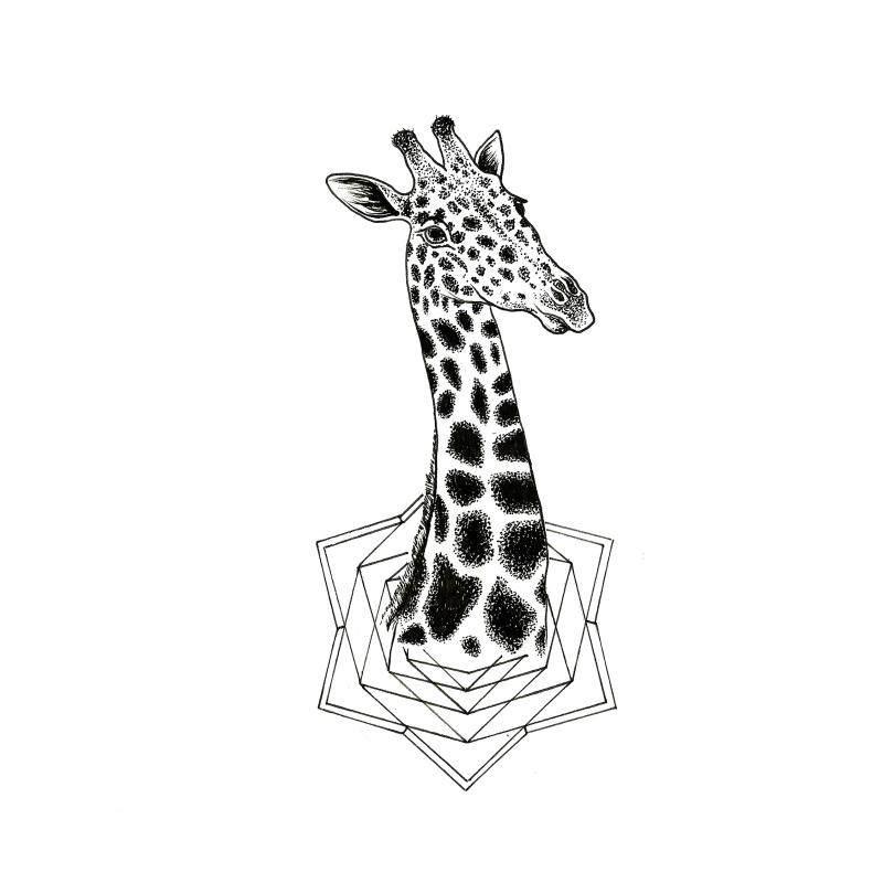 Dotwork giraffe head looking flom geometric drawing tattoo design