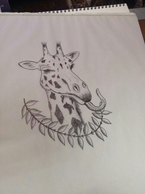 Dotwork giraffe portrait with hanging tongue and leaved branch tattoo design