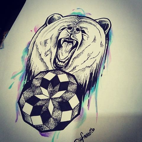 Dotwork grizzly and geometric mandala on watercolor background tattoo design