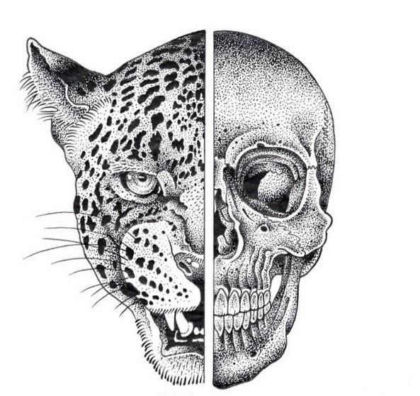 Dotwork hald skull half-leopard tattoo design