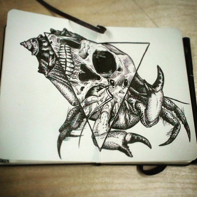 Dotwork hermit crab with triangle reflecting skull view tattoo design