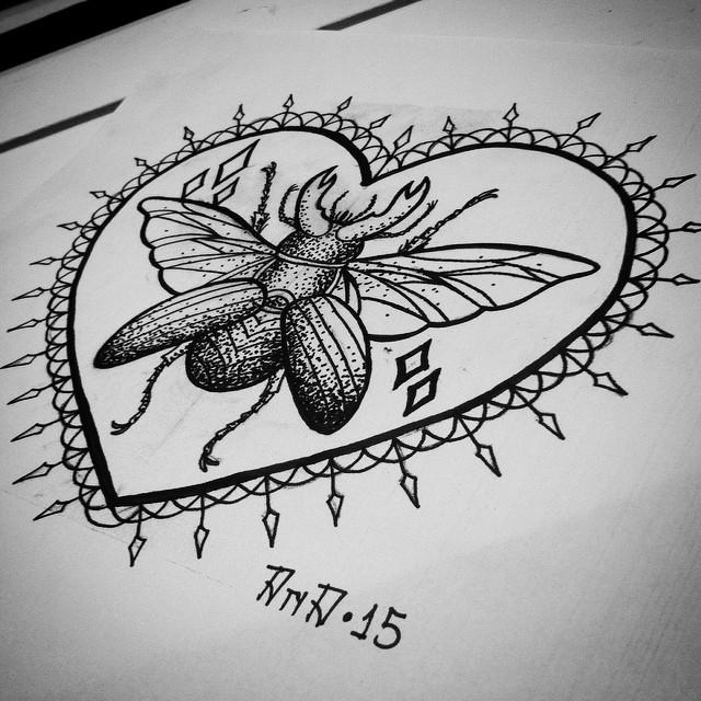 frame tattoo designs. Dotwork Horned Bug In Decorated Heart Frame Tattoo Design - Tattooimages.biz Designs