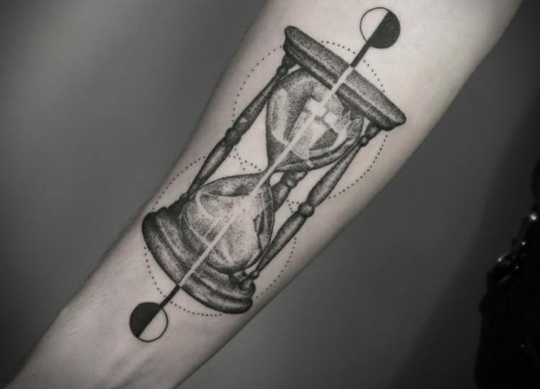 Dotwork hourglass forearm tattoo