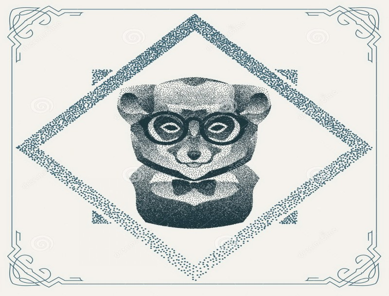 Dotwork lemur with glasses and tie-bow in rhombus frame tattoo design