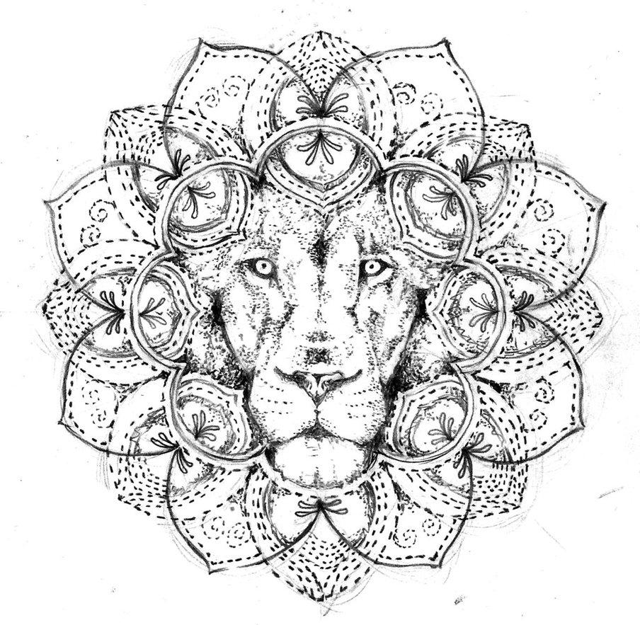 dotwork lion mandala tattoo design free by agresivoo. Black Bedroom Furniture Sets. Home Design Ideas