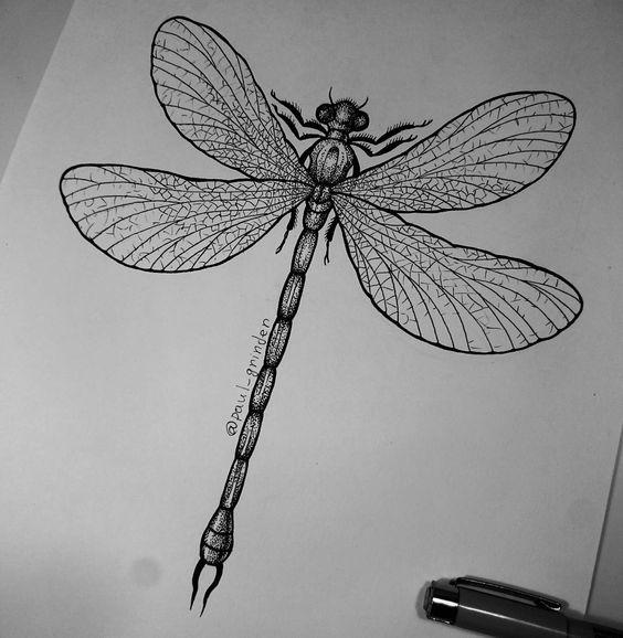 Dotwork long-body dragonfly tattoo design