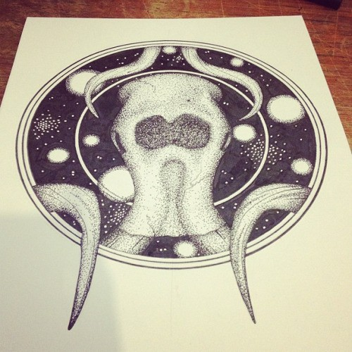 Dotwork mammoth skull in space circle frame tattoo design