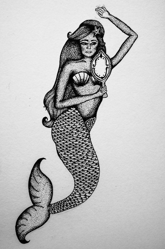 Dotwork mermaid keeping a mirror in hand tattoo design