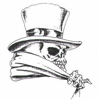 Dotwork mr death in high hat tattoo design