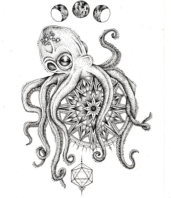 Dotwork octopus with mandala and moon phases tattoo design