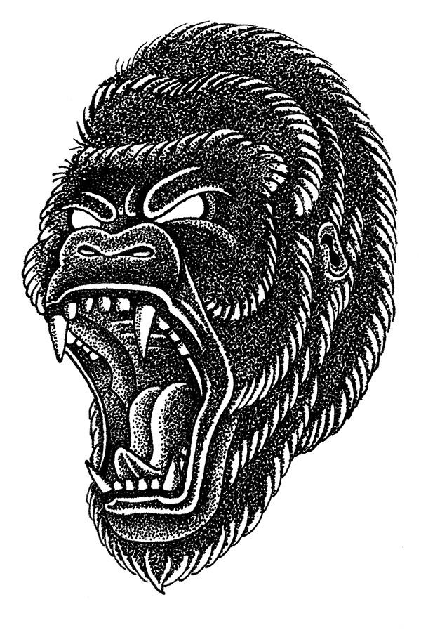 Dotwork old school crying gorilla head in profile tattoo design