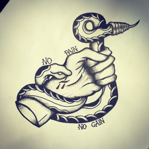 Dotwork old school snake biting human hand tattoo design