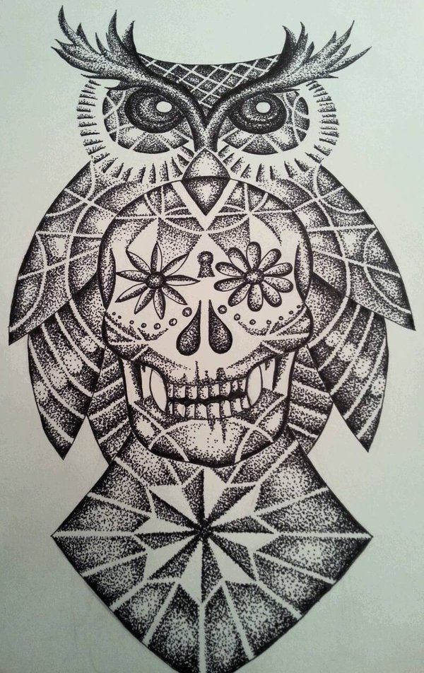 Dotwork owl and sugar skull with geometric elements tattoo for Owl and sugar skull tattoo