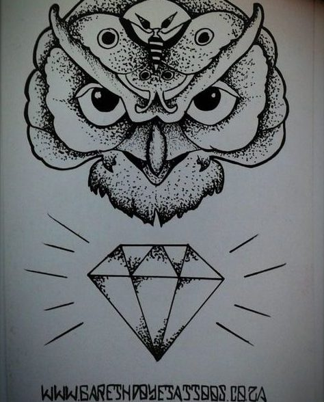 Dotwork owl head and shining diamond tattoo design