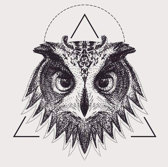 Dotwork owl head on triangle background tattoo design