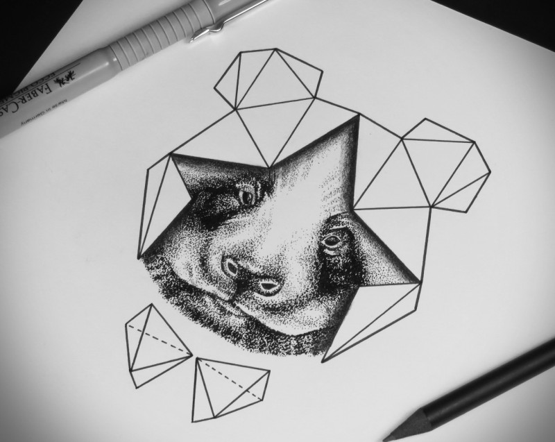 Dotwork Panda Muzzle Framed With Geometric Eleents Tattoo Design
