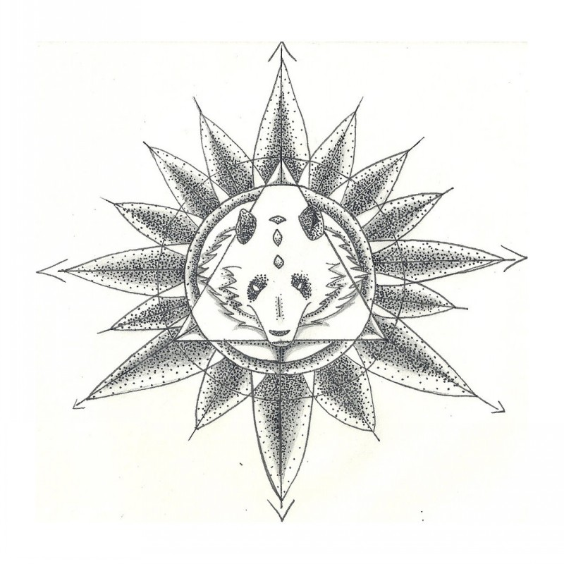 Dotwork panda muzzle in triangle on flower background tattoo design by Unsightly Vulgarity