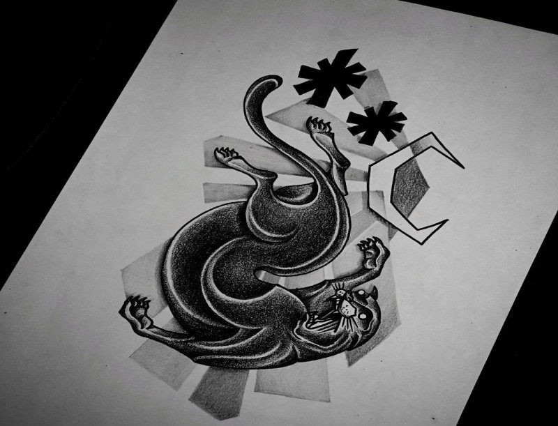 Dotwork panther falling from moonlight sky tattoo design