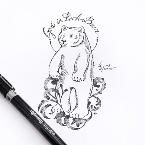 Dotwork polar bear standing on curles with lettered nimbus tattoo design