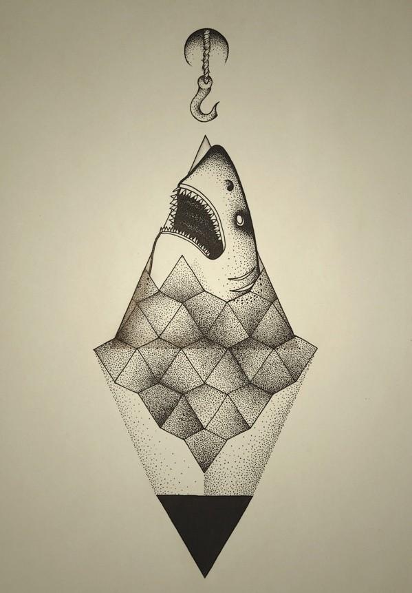 Dotwork shark head getting on hook with geometric elements tattoo design