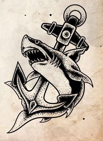 dotwork shark protecting his anchor tattoo design. Black Bedroom Furniture Sets. Home Design Ideas