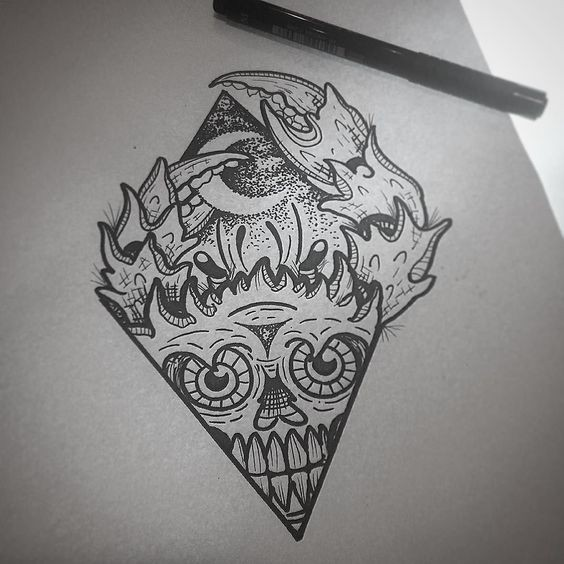 Dotwork skull-printed crab on moonlight background looking out of rhombus frame tattoo design