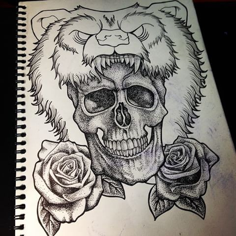 Dotwork skull and roses with uncolored screaming grizzly tattoo design