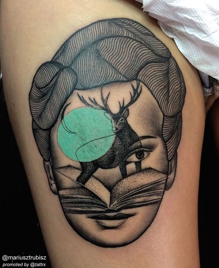 Dotwork style painted by Marisuz Trubisz surrealism tattoo of woman face with deer and book
