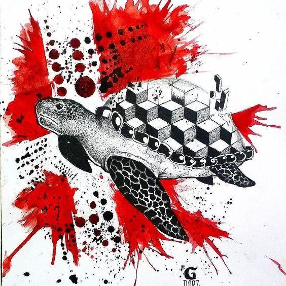Dotwork turtle with geometric shell on trash polka background tattoo design
