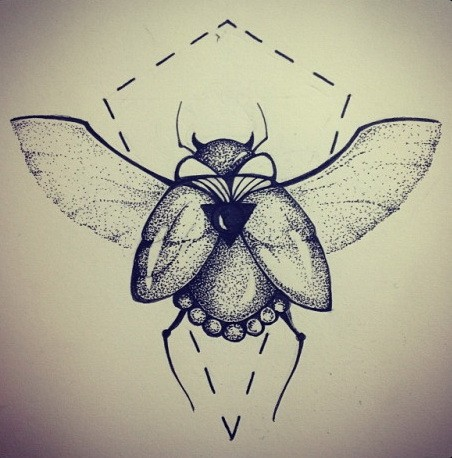 Dotwork winged bug on dotted line background tattoo design