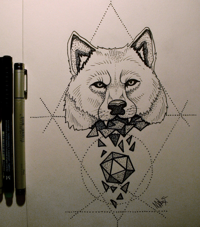 Dotwork wolf head crushing a gem on geometric background tattoo design by Mary