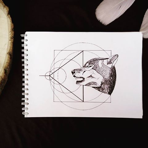 Dotwork wolf with geometric drawings tattoo design