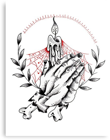 Dotwork zombie praying hands with shining candle tattoo design