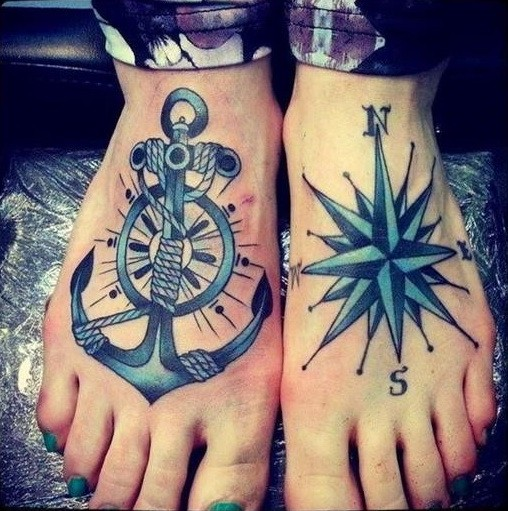 Double anchor and compass tattoo for guys on feet