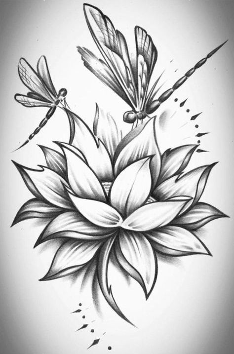 Dragonfly couple flying over lotus flower tattoo design