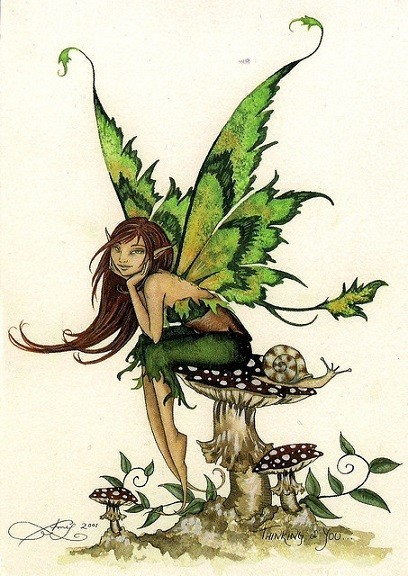 Dreamy green-wing fairy sitting on a toadstool with a snail tattoo design