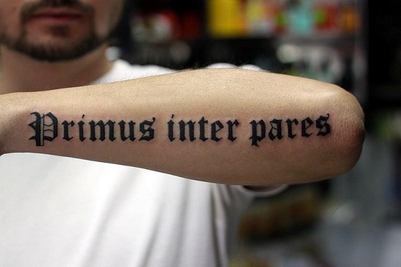 Primus inter pares latin quote tattoo on arm