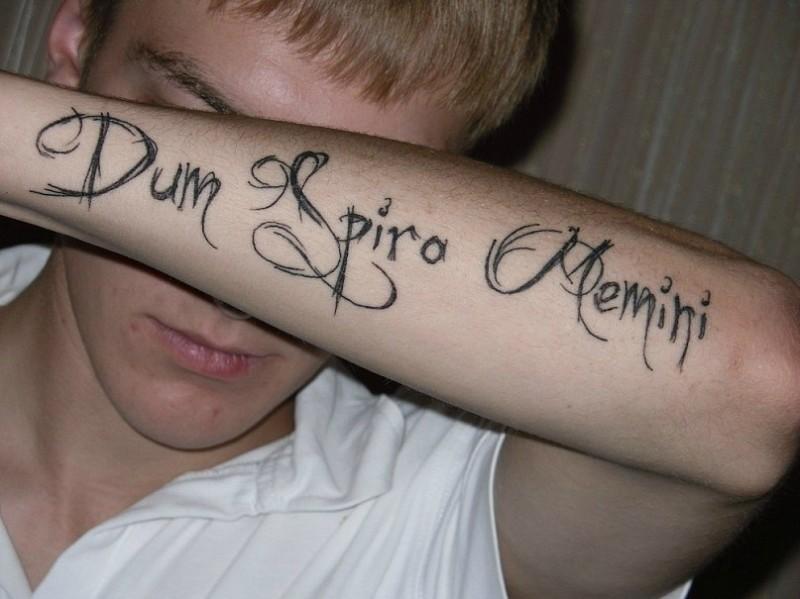 elegante citazione latina scritto tatuaggio su braccio