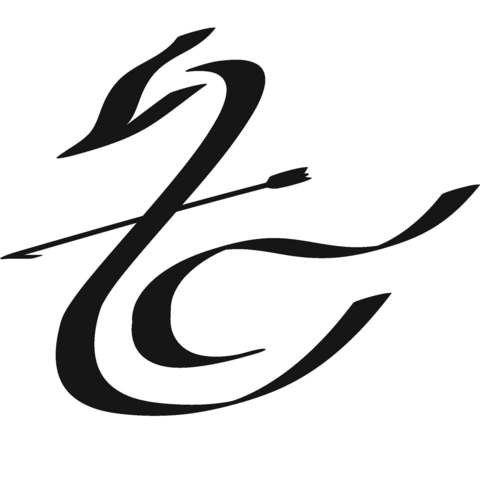 Dusty black-line swan logo killed with thin arrow tattoo design