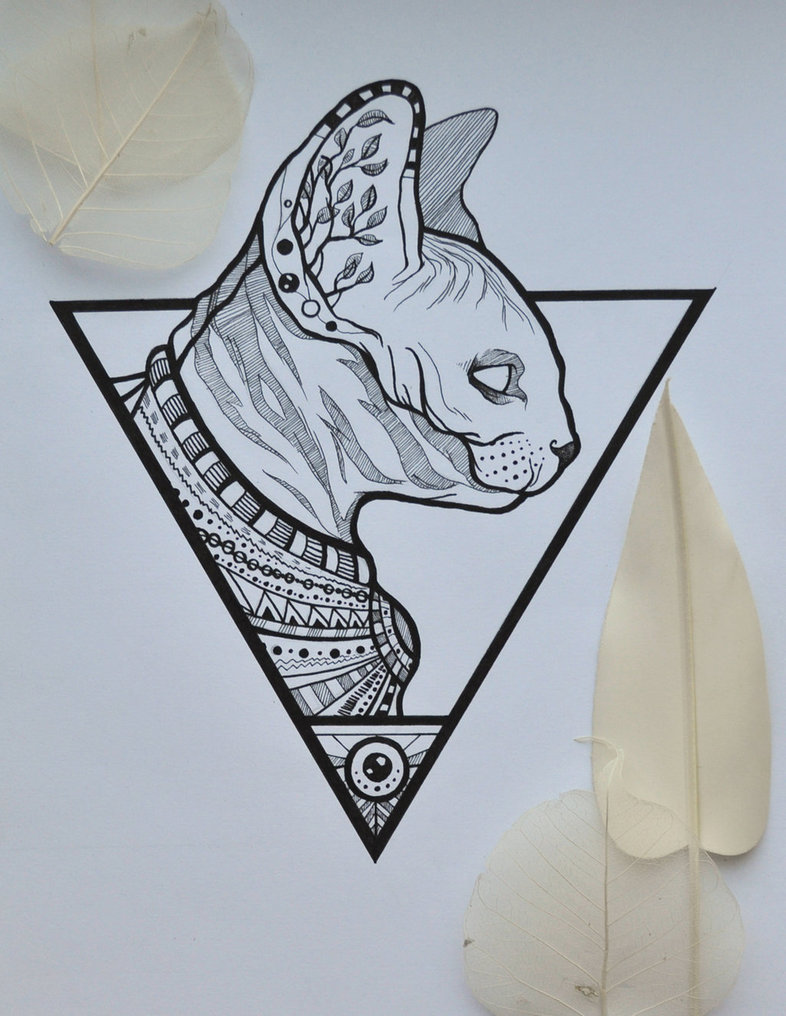 egyptian sphynx cat in triangle frame tattoo design by